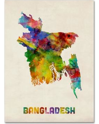 """Trademark Fine Art 'Bangladesh Watercolor Map' Graphic Art Print on Wrapped Canvas MT0511-C Size: 32"""" H x 24"""" W x 2"""" D"""