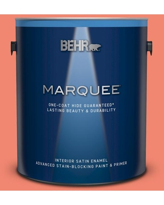 BEHR MARQUEE 1 gal. #190B-5 Juicy Passionfruit Satin Enamel Interior Paint and Primer in One