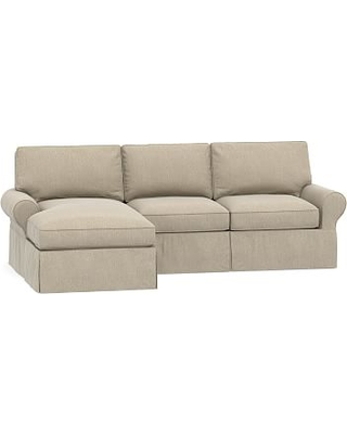 PB Basic Slipcovered Right Arm Sofa with Chaise Sectional, Down Blend Wrapped Cushions, Sunbrella(R) Performance Chenille Cloud