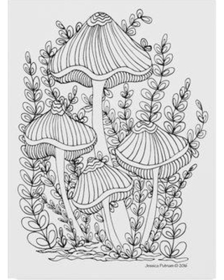 "Trademark Art 'Mushroom 7' Drawing Print on Wrapped Canvas ALI37006-CGG Size: 32"" H x 24"" W x 2"" D"