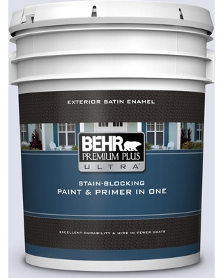 BEHR ULTRA 5 gal. #600A-1 December Dawn Satin Enamel Exterior Paint and Primer in One