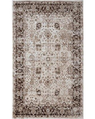 Amazing Deals On World Menagerie Bessoir Power Loom Brown Beige Rug Polyester In Ivory Cream Brown Size Rectangle 7 10 X 10 Wayfair