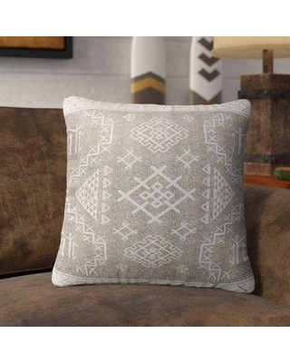 """Loon Peak Cyrill Burlap Indoor/Outdoor Throw Pillow LNPK7112 Size: 18"""" H x 18"""" W x 5"""" D Color: Beige/ White"""