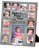Lighthouse Christian Products Baby's First Year Metal 13 Photo Frame Collage, 9 1/2 x 12""