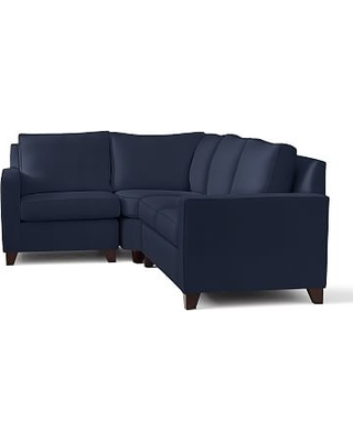 Cameron Square Arm Upholstered Right Arm 3-Piece Wedge Sectional, Polyester Wrapped Cushions, Performance Everydayvelvet(TM) Navy