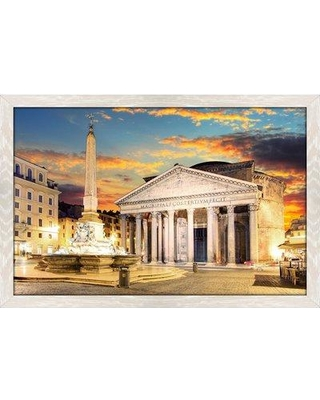 """Bloomsbury Market 'Pantheon Rome' Framed Photographic Print BF066390 Size: 27.5"""" H x 39.5"""" W x 0.75"""" D Format: Stressed White Framed"""