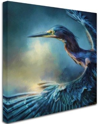 """Trademark Fine Art 'Flight of the Green Heron' Graphic Art Print on Wrapped Canvas ALI15031-C Size: 35"""" H x 35"""" W"""
