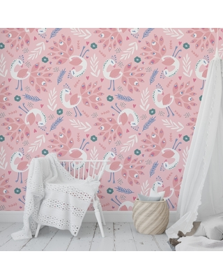 Sales For Peacock Pink Peel And Stick Wallpaper By Kavka Designs 2 X 16 2 X 16