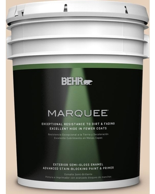BEHR MARQUEE 5 gal. #ecc-53-1 Mown Hay Semi-Gloss Enamel Exterior Paint and Primer in One