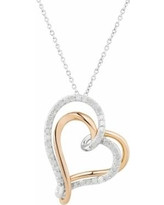 """Two Hearts Forever One Two Tone Sterling Silver 1/2 Carat T.W. Diamond Double Heart Pendant, Women's, Size: 18"""", White"""