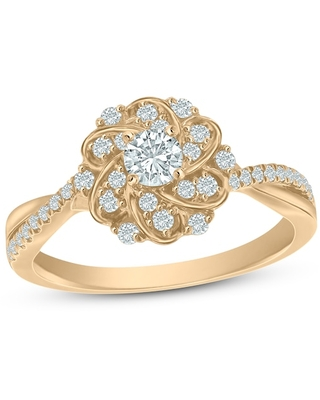 Jared The Galleria Of Jewelry Diamond Engagement Ring 1/2 ct tw Round 14K Two-Tone Gold
