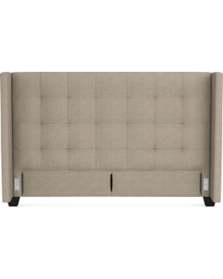 Gable Wing Headboard Only, King, Performance Linen Blend, Stone