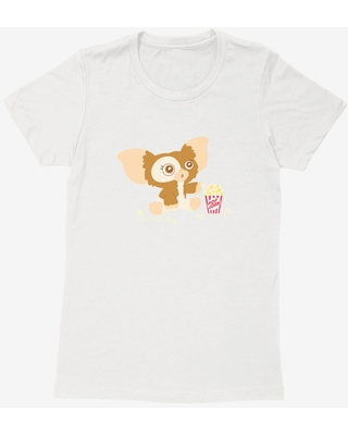 Gremlins Suprised Gizmo Eating Popcorn Womens T-Shirt