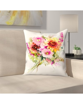 """Flowers Throw Pillow East Urban Home Size: 16"""" x 16"""""""