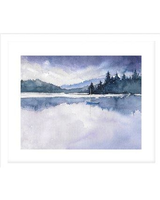 """Millwood Pines 'Purple Skys' Painting Print on Canvas in Purple/Green BI109466 Size: 24"""" H x 36"""" W x 0.75"""" D Format: Framed"""