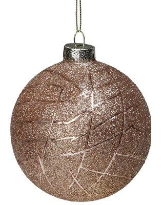 "Shiny Orange Glittery Ball With Etched Geometric Design Christmas Ornament 4"" (100Mm) Northlight Seasonal"