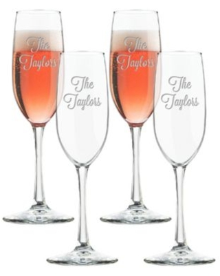 Carved Solutions Multi Name Champagne Flutes (Set of 4)
