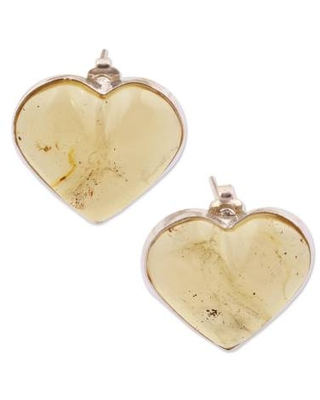 Mexican Yellow Amber Heart Shaped Sterling Silver Button Earrings