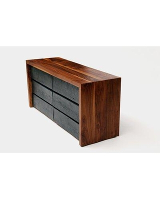 """ARTLESS SQR 6 Drawer Double Dresser A-SQR-LD / A-SQRD Length: 48"""" Color: Solid Walnut and Reclaimed Wood"""