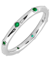 Simply Stacks Sterling Emerald Multi-stone Stac kable Ring