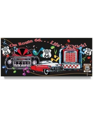 """Trademark Fine Art 'Route 66 Life's a Kick Sign' Graphic Art Print on Wrapped Canvas ALI20746-C Size: 20"""" H x 47"""" W"""