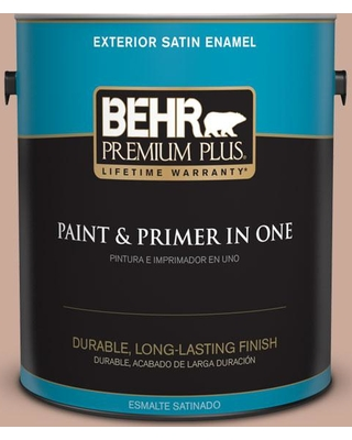 BEHR PREMIUM PLUS 1 gal. #ICC-97 Powdered Allspice Satin Enamel Exterior Paint and Primer in One