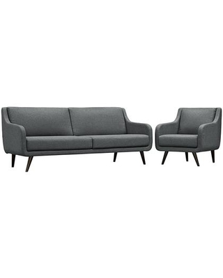 Verve Collection EEI-2447-GRY-SET 2 PC Sofa and Armchair Set with Dense Foam Padding Removable Cushions Espresso Rubberwood Legs and Polyester