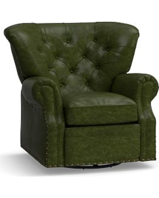 Lansing Leather Swivel Recliner, Polyester Wrapped Cushions, Leather Legacy Forest Green