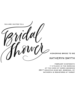 Wedding Shower Invites 5x7 Cards, Premium Cardstock 120lb, Card & Stationery -Scripted