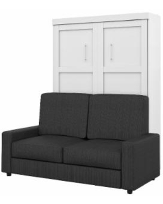 Pur 2-PC Full Wall Bed & Sofa Set in White & Grey - Bestar 26720-000017