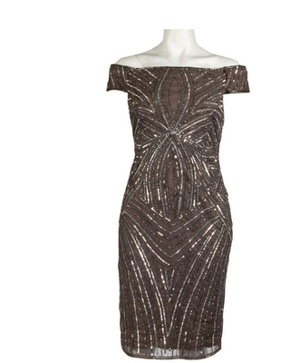 Adrianna Papell - AP1E201100 Sequined Off-Shoulder Sheath Dress