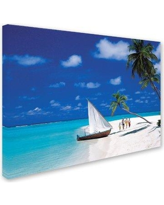 """Trademark Fine Art 'Sail Boat' Photographic Print on Wrapped Canvas ALI19112-C Size: 14"""" H x 19"""" W"""