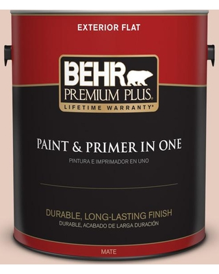 BEHR Premium Plus 1 gal. #T17-05 Life is a Peach Flat Exterior Paint and Primer in One