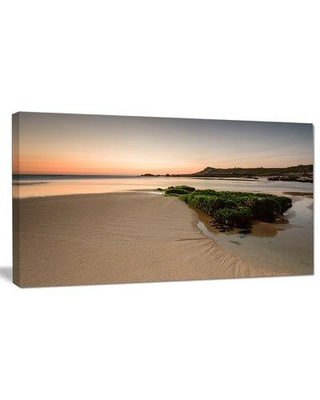 "Design Art 'Beach at Sunset in Spain' Photographic Print on Wrapped Canvas, Canvas & Fabric in Brown/Yellow, Size 16"" H x 32"" W x 1"" D 