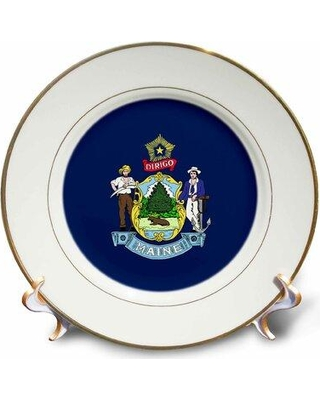 Shop Deals For East Urban Home State Flag Of Maine Porcelain Decorative Plate Porcelain In Blue Size Small Under 8 W Wayfair
