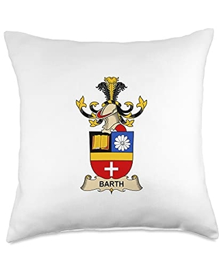 Family Crest and Coat of Arms clothes and gifts Barth Coat of Arms - Family Crest Throw Pillow, 18x18, Multicolor