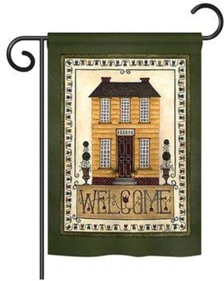 """Breeze Decor Welcome Yellow House Inspirational Sweet Home Impressions Decorative Vertical 13"""" x 18.5"""" Double Sided Garden Flag Set BD-SH-GS-100068-IP-BO-D-US18-SB"""