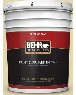 BEHR Premium Plus 5 gal. #M310-3 Champagne Cocktail Flat Exterior Paint and Primer in One