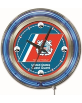 "Holland Bar Stool US Armed Forces 15"" Double Neon Ring Logo Wall Clock Clk15 Branch: Coast Guard"