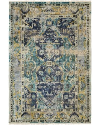 Amazing Deal On Bally Hand Knotted Wool Blue Navy Teal Area Rug Bungalow Rose Rug Size Rectangle 6 X 9