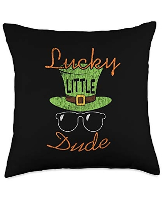 St. Patrick's Day Costume Apparel.USA Lucky Little Dude St. Patrick's Day Kids Boys Matching Gift Throw Pillow, 18x18, Multicolor