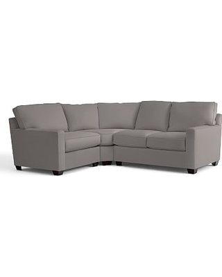 Buchanan Square Arm Upholstered Left arm 3-Piece Wedge Sectional, Polyester Wrapped Cushions, Performance Twill Metal Gray