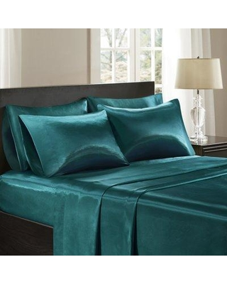 The Twillery Co. Cleary Satin 227 Thread Count 6 Piece Sheet Set W000287246 Size: Full Color: Teal