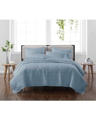 Full/Queen 3pc Solid Quilt Set Blue - Cannon Heritage