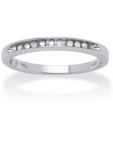 1/10 TCW Round Diamond Platinum over Sterling Silver Anniversary Ring (7)
