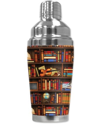 """Mugzie """"Books"""" Cocktail Shaker with Insulated Wetsuit Cover , 16 oz, Black"""