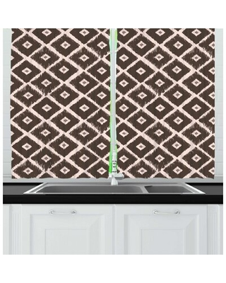 Diamond Rhombus Shaped Abstract Folkloric Historical Culture Kitchen Curtain East Urban Home