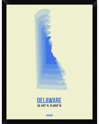 "Naxart 'Delaware Radiant Map 1' Framed Graphic Art Print on Canvas GCF-399825 Size: 34"" H x 26"" W x 1.5"" D"