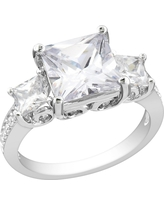 White Cubic Zirconia Silver Engagement Ring - 7 - Silver
