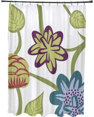 Red Barrel Studio Anurima Tropical Floral Print Single Shower Curtain RDBS2882 Color: Teal